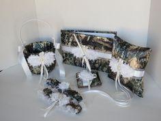 Camo Wedding Set, Wedding Flower Girl Basket, Wedding Pillow, Wedding Guest Book, Pen and Wedding Garter, True Timber Brown Camo Wedding Set by TheMomentWeddingBout on Etsy https://www.etsy.com/listing/194981198/camo-wedding-set-wedding-flower-girl