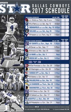 Dallas Cowboys 2017-18 season schedule