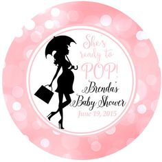 Ready to POP - Baby Shower Personalized Sticker, Pink Bokeh It's a Girl Baby Label Party Favor Labels