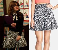 """Jess wore this black and white jacquard pattern skirt in last week's episode of New Girl """"Landline"""" with her trompe l'oeil necktie sweater."""