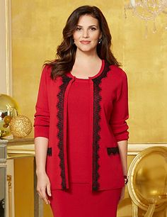 Lady In Red Lace Trim Cardigan