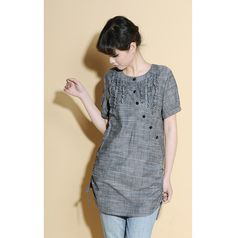 Drawstring Linen Long Blouse with Ruffles/ 28 Colors by Ramies, $66.00