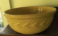 Antique Yellow Ware Bowl  Chevron Pattern  by 4HollyLaneAntiques
