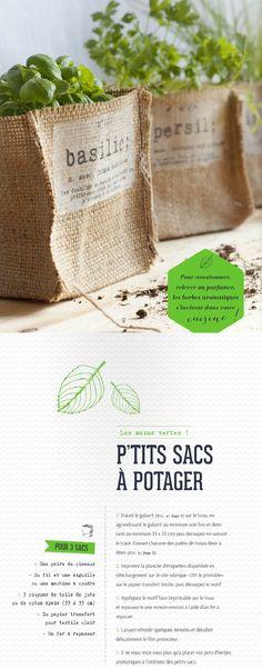 De la toile de jute + du fil & une aiguille à canvas = Petits sacs pour aromates /1 clic pour le patron et les étiquettes / ways magazine