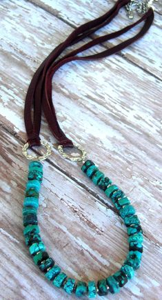 Turquoise Natural Deep Aqua Green, Brown Soft Leather, Hammered Silver