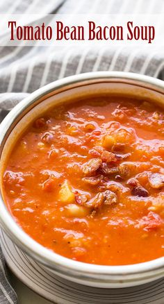 Rich tomato soup made with fresh tomatoes, Yukon Gold potatoes, and bacon. Perfect use of summer garden tomatoes.