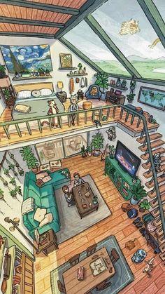 Home Theater Design, Home Room Design, Home Interior Design, House Drawing, Drawing Rooms, Drawings, Tree House Decor, Minecraft Interior Design, Sims House Design