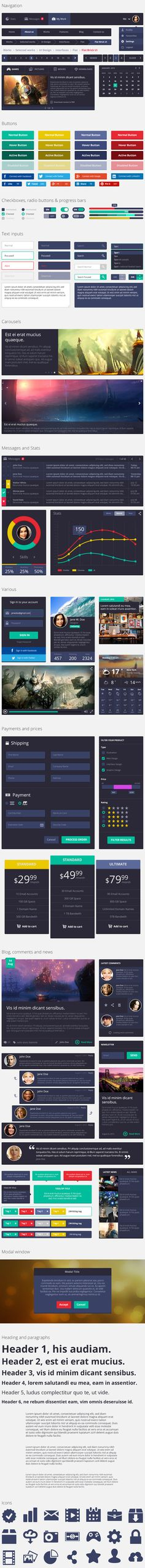 Here you go designer guys and girls. Today's freebie is a complete and very colorful flat ui kit PSD. This set has everything you could dr