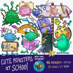 This set contains all of the images shown (25 color and the same 19 black and white), 46 images in total.Images saved at 300dpi in PNG files.For personal or commercial useKey words: clip art, clipart for teachers, monsters