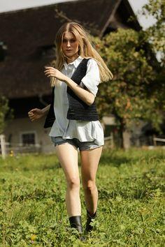 Schulana Lookbook, Creative and Fashion Direction: GUSTAVE / Photography: Nathan Beck / Model: Caroline Lossberg / Agency: Mega Models #Editorial #Styling White Shorts, Editorial, Advertising, Models, Creative, Photography, Fashion, Templates, Moda