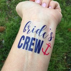 Bride's Crew with Anchor Nautical Bachelorette Party Temporary Tattoos (Set of Bachelorette Cruise, Nautical Bachelorette Party, Bachelorette Party Planning, Bachlorette Party, Bachelorette Party Decorations, Nautical Wedding, Party Tattoos, Beach Bridal Showers, Bride To Be Sash