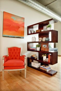 "#DesignpinThurs: Bright colors that ""pop"" and shelves to divide large rooms ; Chic Interior Design by Garrison Hullinger"
