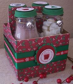 """Cute """"Hot Chocolate Kit"""" using empty frappucino bottles.  One each of:  hot chocolate mix, mini marshmallows, mini candy canes, peppermint patties"""