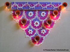 Easy and colorful semi circle rangoli for diwali | Innovative rangoli de...