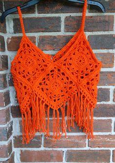 Hand Crochet Fringe Halter Top festival clothing Granny