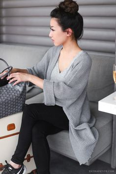 Travel wear leggings and comfortbale knit sweater. extrapetite.com