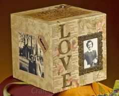 DIY Mother's Day photo cube with a vintage flair and made with a cube of STYROFOAM Brand Foam.