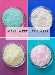 The best DIY projects & DIY ideas and tutorials: sewing, paper craft, DIY. DIY Skin Care Recipes : Learn how to bake your homemade bath salts to ensure they stay fluffy and fresh, and check out my scent sampler lineup--the Bath Salts Recipe, Homemade Bath Salts, Diy Scented Bath Salts, How To Make Diy Bath Salts, Homemade Facials, Diy Masque, No Salt Recipes, Soap Recipes, Do It Yourself Fashion