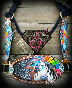 Find me on FB for hand painted horse tack, muletape/noseband halters,  Rope cans, leather, bronc nosebands, belts, witherstraps, headstalls, hats, caps and more.. #barrel racing, #horsetack, #leather