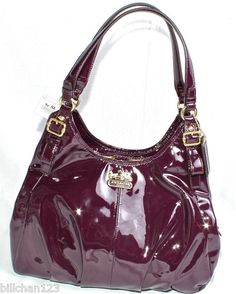 New Coach Madison Patent Leather Maggie Shoulder Bag 18760 Plum I Love This Purse So Much