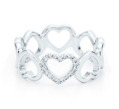 Want! Tiffany & Co. | Item | Heart ring in 18k white gold with diamonds. | United States