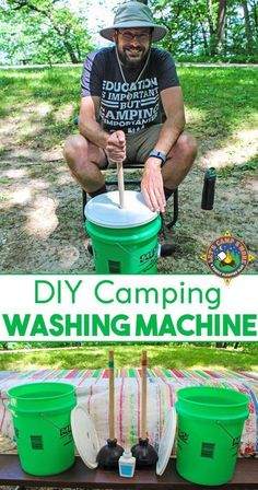 DIY Camping Laundry Washing Machine Tutorial - Need to wash your dirty clothes while camping? Make your own Portable Washing Machine to clean your laundry outdoors. Kids love to help wash laundry with this portable laundry system.