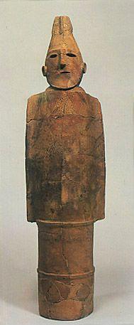 The Kofun period (AD.250-AD.592) Haniwa terracotta clay figure of a kneeling man. Gunma Japan.