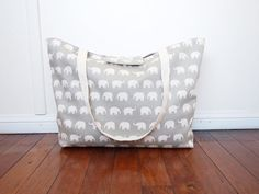 Choose Your Colour: Extra-Large Beach Tote Bag / Nappy Diaper Bag with Built-in Wet Bag Pocket - Elephants (Made to Order)  from: piggledee (at Esty.com)
