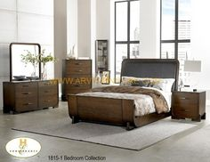 The price is for Queen size Bed, Dresser, Mirror, Chest & 2 Night tables. Upgrade to king size for $249. Can buy individual pieces.  Contemporary Bedroom Collection featuring a low-profile sleigh bed with upholstered headboard insert and finished in Cherry.  Dimensions 1815-1Queen BedHB: 56H FB: 25H 1815-11TV Chest48 x 18 x 32H 1815-4Night Stand26 x 17 x 26H 1815-5Dresser64 x 18 x 32H 1815-6Mirror44 x 1 x 40H 1815-9Chest36 x 18 x 54H  Material Selected Solids & Veneers