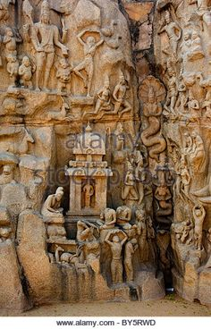Arjuna's Penance in Mamallapuram India the largest bas-relief in the world.  Represents entire creation. - Stock Photo