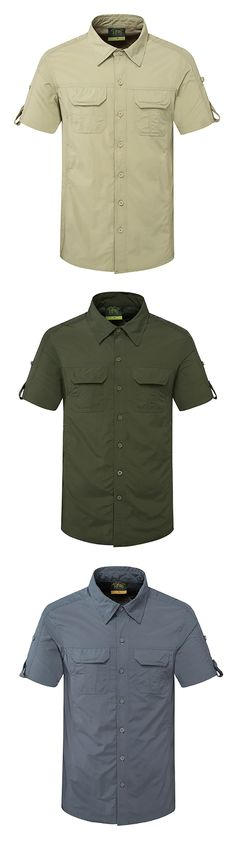 Summer Breathable Short Sleeve Cargo Shirts for Men :Outdoor /Sport /Thin /Quickly Dry