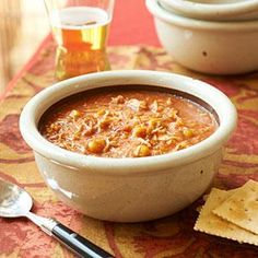 Brunswick stew is a hearty, Southern-style stew that's packed full of meat and veggies and has a slightly sweet flavor from either chili sauce or ketchup. The original Brunswick stew was made with squirrel meat, but this slow-cooker version features shredded chicken.