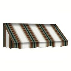Awntech 172.5-In Wide X 36-In Projection Burgundy/Forest/Tan Stripe Sl