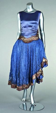 Jeanne Lanvin blue satin and lace cocktail gown, circa 1923-1927