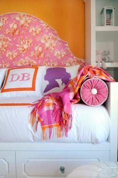 INSPIRATION pink/orange/purple girls room orange walls, white furniture purple and pink accents