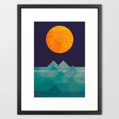 The Ocean, the Sea, the Wave-Night Framed Art Print