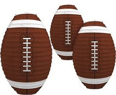 Score a touchdown with these Football Paper Lanterns. These fun hanging football party decorations are football shaped paper lanterns in brown and white. Each lantern measures approximately 12 inches tall and each pack contains 3 paper lanterns. Football Banquet, Football Tailgate, Football Birthday, Football Season, Football Parties, Sports Birthday, 11th Birthday, Birthday Ideas, Patriots Superbowl