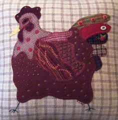 Wool felt and embroidered chicken pillows