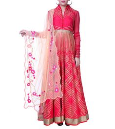 e7c2a03e32 Buy Red & Pink Gota Patti Raw Silk Anarkali Suit By Tasneem Geonka online  in India at best price.This is a red full sleeves & full raw silk anarkali  gown ...