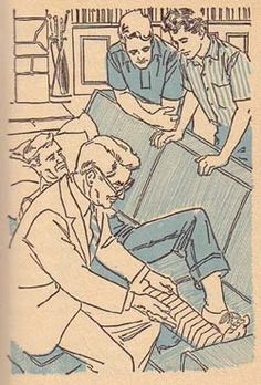Dr. Holmes looks at the splint Brian made. (4)  Illustration by Paul Frame is from the 1964 Cameo edition of Trixie Belden and the Mystery at Cobbett's Island.