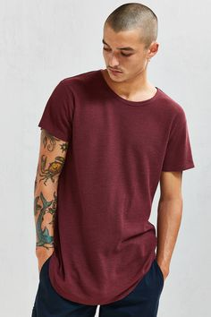 Slide View: 1: French Rib Long Loose Scoopneck Tee