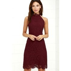 BB Dakota Cara Burgundy Lace Dress ($91) ❤ liked on Polyvore featuring dresses, red, red halter top, open back halter top, red halter dress, lace overlay dress and burgundy halter dress