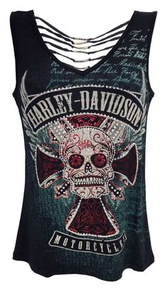 Harley-Davidson Women's Tank Top, Embellished Skull Metal Biker HD315-013BLK (M)