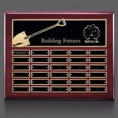 Promotional Products Ideas That Work: Shovel Perpetual Plaque - Rosewood 30 Plate. Get yours at www.luscangroup.com