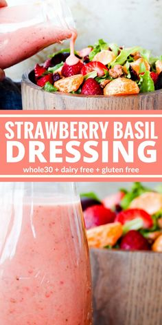 Low Carb Recipes To The Prism Weight Reduction Program You'll Love This Strawberry Basil Dressing. It's So Very Creamy It Will Brighten Up Any Salad Plus It's Dairy Free, Gluten Free, And Sugar Free. Sauce Recipes, Whole Food Recipes, Vegetarian Recipes, Cooking Recipes, Healthy Recipes, Vegan Meals, Diet Recipes, Cooking Hacks, Oven Cooking