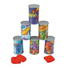 Super Villain Can Bean Bag Toss Game - Discontinued Toddler Party Games, Sleepover Games, Games For Toddlers, Superhero Party Activities, Girl Superhero Party, Wiggles Birthday, Batman Birthday, 4th Birthday, Birthday Ideas