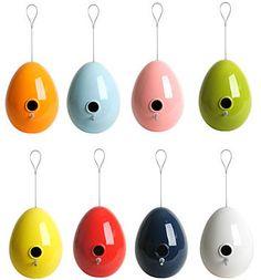 Egg shaped bird houses. LooOOOoove them<3