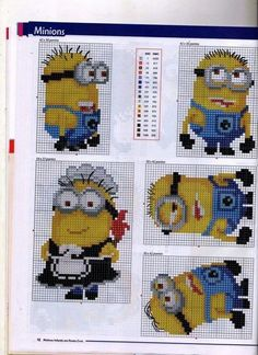 Despicable Me Minions Cross Stitch (Anchor and DMC colours) Page C … Cross Stitch Boards, Cross Stitch For Kids, Cross Stitch Bookmarks, Beaded Cross Stitch, Cross Stitch Baby, Counted Cross Stitch Patterns, Cross Stitch Designs, Cross Stitch Embroidery, Embroidery Patterns