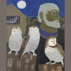 Mary Fedden R.A. (British, born 1915) Portrait of Julian Trevelyan and Three Owls 61 x 52 cm. (24 x 20 1/2 in.)