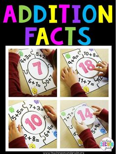 Addition Facts Puzzle Games - Use these 18 puzzles with your 1st, 2nd, or 3rd grade classroom or home school students for math centers or stations, activities, math tubs, review, morning work, seat work, review, early or fast finishers, assessment, and more. You get 18 different adding fact puzzles. There's also a recording sheet. Better than a worksheet!! Help your students master basic operations today. {first, second, third graders, arithmetic, mathematics}